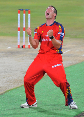 CENTURION, SOUTH AFRICA - NOVEMBER 02, Hardus Viljoen of the Lions celebrates his 5th wicket during the Momentum One Day Cup match between Nashua Titans and bizhub Highveld Lions at SuperSport Park on November 02, 2012 in Centurion, South AfricaPhoto by