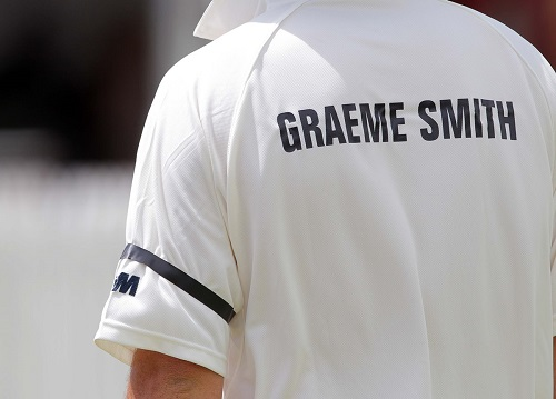 CAPE TOWN, SOUTH AFRICA - DECEMBER 14: Graeme Smith wearing a black armband in memory of Nelson Mandela during the Momentum Cricket Sixes Invitational tournament at Claremont Cricket Club on December 14, 2013 in Cape Town, South Africa. EDITOR'S NOTE: For free editorial use. Not available for sale. No commercial usage. (Photo by Carl Fourie/Gallo Images)