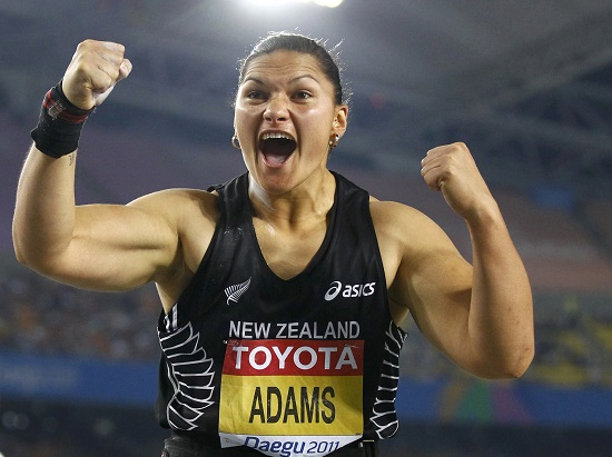 Valerie Adams of New Zealand celebrates after her attempt during the women's shot put final at the IAAF World Championships in Daegu