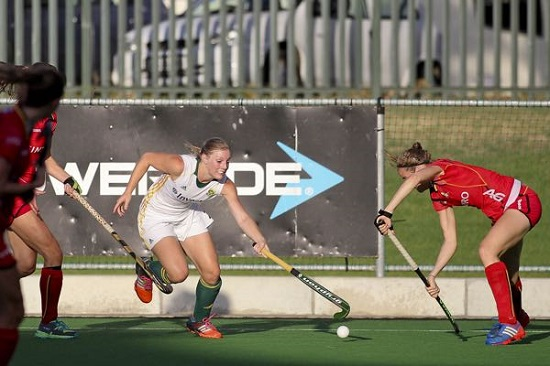 SA forward Bernie Coston on attack against Belgium during the first Test at Hartlevale in Cape Town Friday.