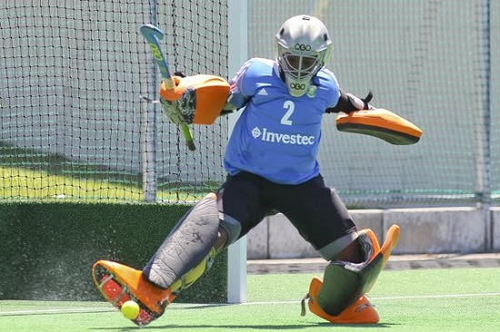 Outstanding SA goalkeeper Sanani Mangisa makes yet another save during the first half of the fifth Test against Belgium at Hartleyvale in Cape Town Sunday. SA won 1-0 to lead the series 2-1. Photo ACTION PIX