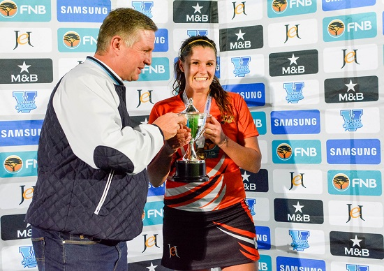 Captain Kaila-Ron Flemming of UJ receiving the trophy during the Varsity Hockey Final match Kovsies vs UJ held at UFS Astro in Bloemfontein on May 18, 2015 ©Frikkie Kapp /SASPA