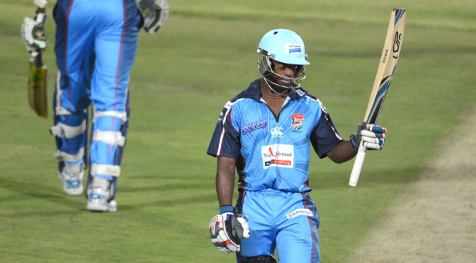 BENONI, SOUTH AFRICA - NOVEMBER 01: Mangaliso Mosehle of the Titans celebrates his 50 runs during the Momentum One Day Cup match between Unlimited Titans and Sunfoil Dolphins from Willowmoore Park on November 01, 2013 in Benoni, South Africa. (Photo by Lee Warren/Gallo Images)