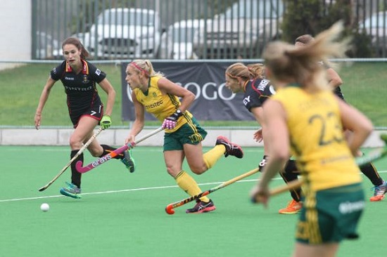 SA's Shelley Russell scythes through during the second Test against Belgium at Hartleyvale Saturday. The match ended 3-3. Photo credit MAX BOSANQUET