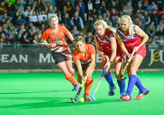 Isabella Da Rocha of UJ and Nicole Walraven and Izelle Lategan of KOVSIES during the Varsity Hockey Final match Kovsies vs UJ held at UFS Astro in Bloemfontein on May 18, 2015 ©Frikkie Kapp /SASPA