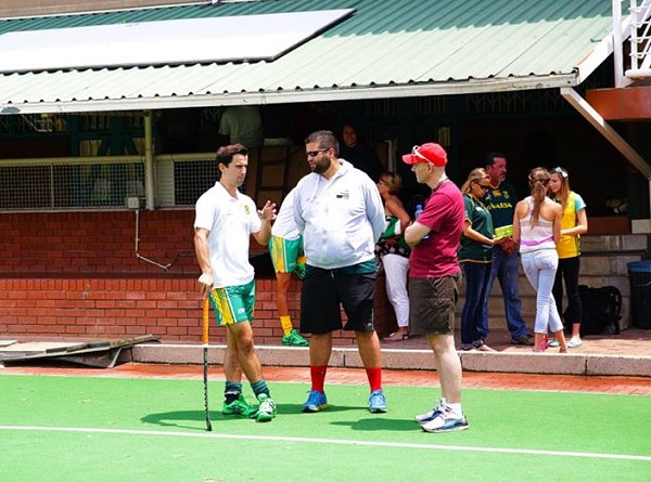 Photo by Sean Burke - Jethro, Jabu and Marcel chat at the SA Hockey Media day ahead of the Greenfields African Hockey Championship