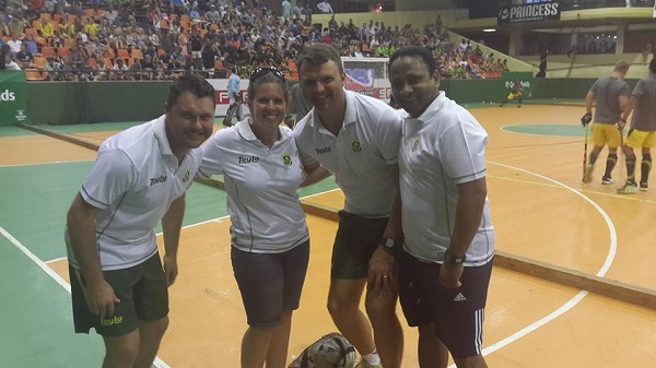 The SA Indoor Hockey management team. Ryan Hack [Assistant Coach], Bianca Brower [Marketing Manager], Pierre le Roux [Coach] and Reginald Smith [Manager] Photo: Twitter - @SAIndoor